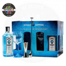Джин Bombay Sapphire 4 бутилки по 700ml 40%, коктейлна лъжица, мерителна чашка и 6 чаши