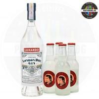 Джин Luxardo London Dry 700ml 43% + Thomas Henry Spicy Ginger 4 броя х 200ml