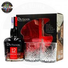 Ром Dictador 12 Years Old 700ml 40% с 2 кристални чаши