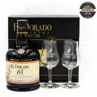 Ром El Dorado 15 Years Old 700ml с 2 чаши 43%