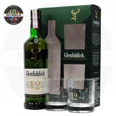 Уиски Glenfiddich 12 Years Old 700ml 40% с 2 чаши