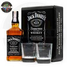 Уиски Jack Daniel's №7 700ml 40% метална кутия с 2 чаши