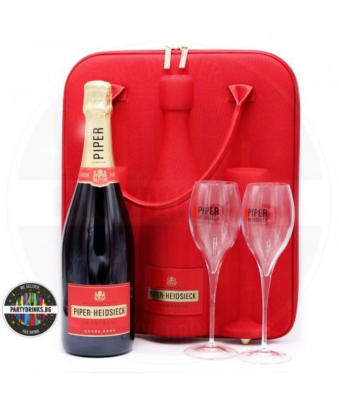 Шампанско PIPER-HEIDSIECK Brut 750ml 12% с 2 чаши и термочанта